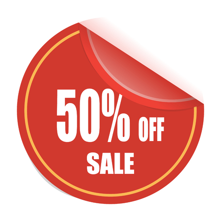 Red sale tag, 50% off sale tag