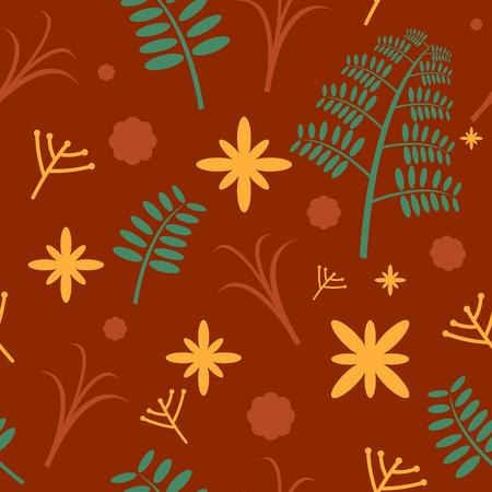 Leaf and flower seamless pattern flat design Ilustração