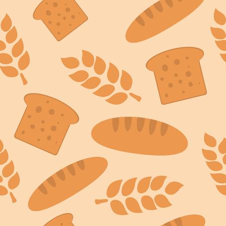 Bread and wheat seamless pattern flat design