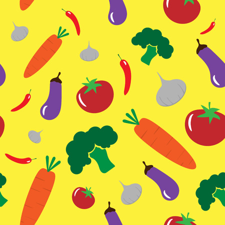 Vegetables on yellow background seamless pattern flat design