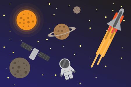 Universe space flat design Ilustração