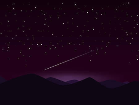 Night mountain lanscape with shooting star Illustration