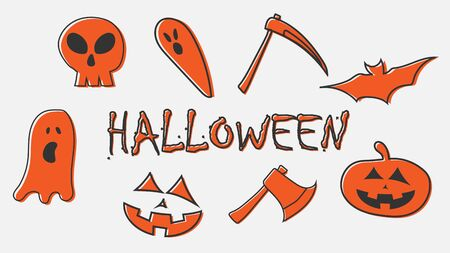 Set of halloween character with halloween text