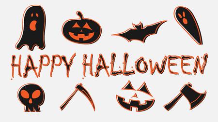 Set of halloween character with happy halloween text