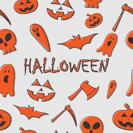 Set of halloween character with halloween text seamless pattern template