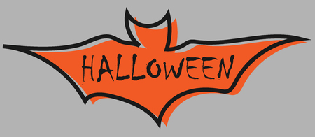 Halloween text on bat flat design