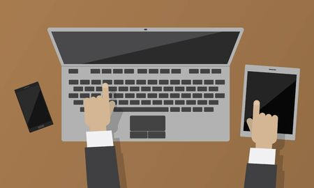 Topview of tablet and smartphone flat design with hand of businessman