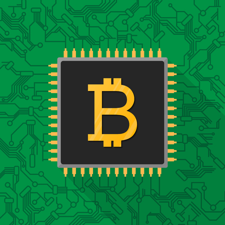 Bitcoin digital currency sign on microchip processor