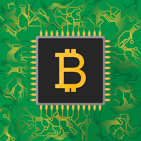 Bitcoin digital currency sign on microchip processor with gold light