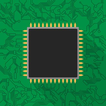Microchip processor on green printed circuit board Ilustração