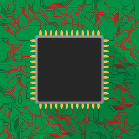 Microchip processor on green printed circuit board with red light Ilustração