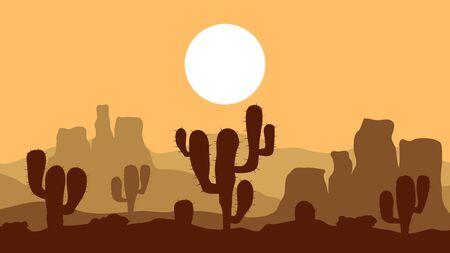 Desert sunset, lanscape background, vector illustration