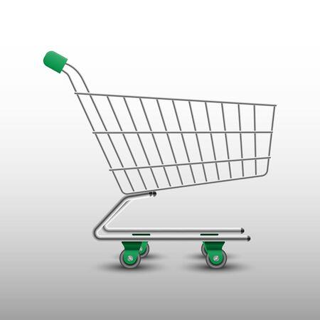 Realistic shopping cart isolated on white background, vector illustration Vektorgrafik