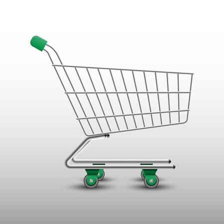 Realistic shopping cart isolated on white background, vector illustration Ilustración de vector