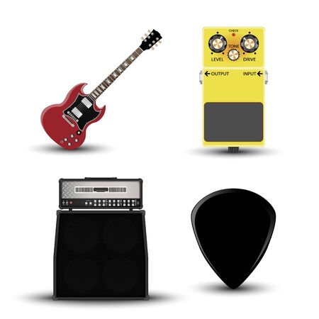 Music instruments icon, guitar, amplifier, pick and effect pedal, realistic vector illustration Vector Illustration