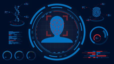 Face detection system on HUD screen display,DNA and fingerprint data infomation process Futuristic technology, Tactical view Sci-Fi VR, vector illustration
