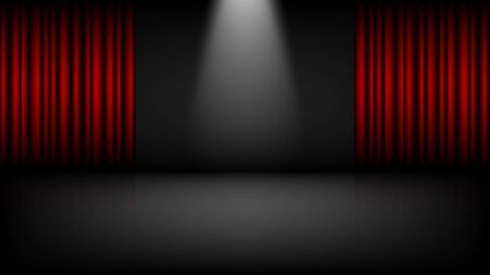 Empty theater or cinema stage with red curtains, vector illustration Vettoriali