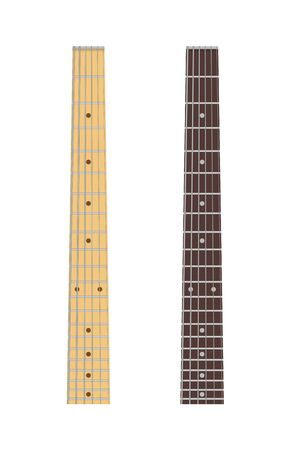 Maple and ebony guitar fingerboard isolated on white background, vector illustration