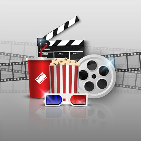 Cinema background concept, movie theater object on grey  background, vector illustration