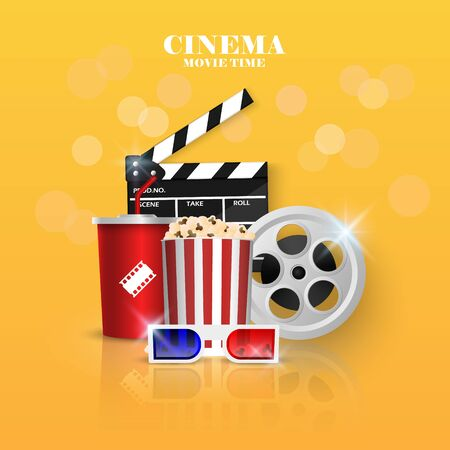 Cinema background concept, movie theater object on yellow  background, vector illustration