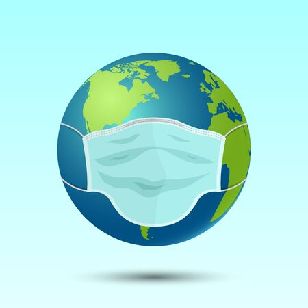 Medical mask on planet earth, disease or pollution concept, vector illustration