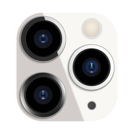 Realistic camera lens on smartphone, vector illustration