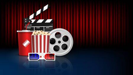 Cinema background concept, movie theater object on red curtain background, vector illustration Ilustração