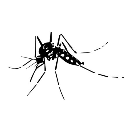 Mosquito silhouettes isolated on white background, vector illustration