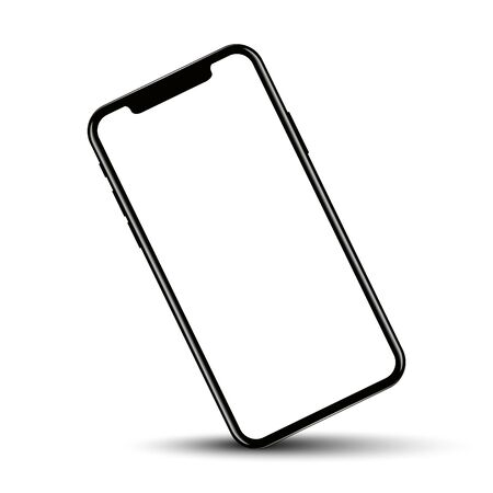 Smartphone rotated position with blank screen, vector illustration