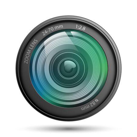 Camera lens isolated on white background, vector illustration Ilustración de vector