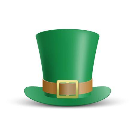 Chapeau vert de la Saint-Patrick isolé sur fond blanc, illustration vectorielle