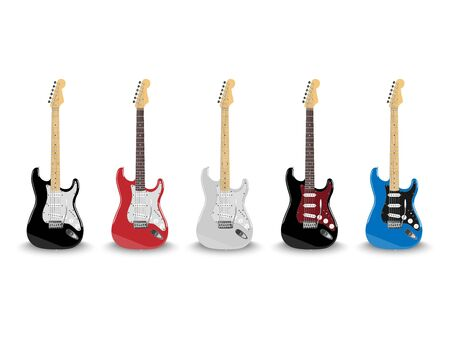 Realistic electric guitar in different colors isolated on white background, vector illustration