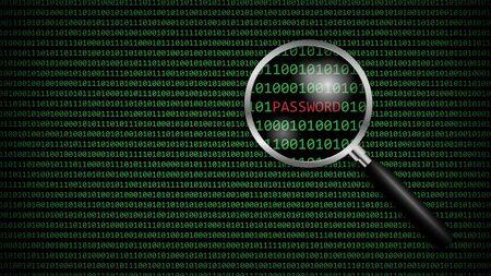 Password under magnifying glass with digital computer code, cyber technology security, network protection background design, vector illustration Ilustração Vetorial