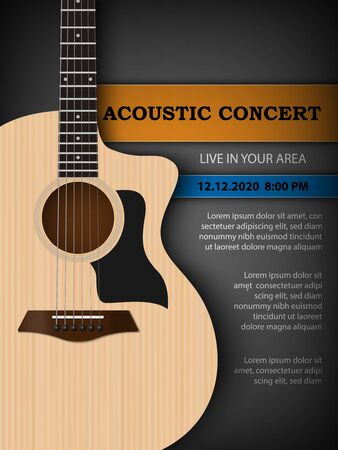 Acoustic music festival concert flyer poster design template, acoustic guitar on dark background, vector illustration Vetores