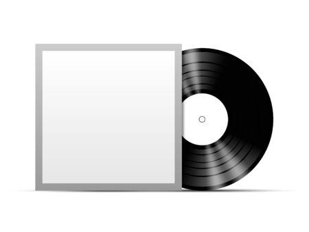 Vinyl disc with black cover template mockup, vector illustration Ilustração