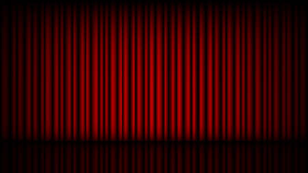 Empty stage with closed red theater curtain, vector illustration