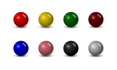 Set of snooker balls isolated on white background, vector illustration 向量圖像