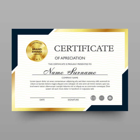 Certificate of appreciation template with luxury and modern pattern, diploma, vector illustration 向量圖像