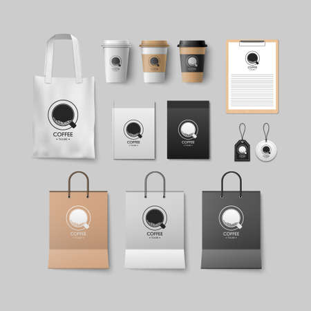 Coffee shop mockup set, coffee package design for corporate, vector illustration Ilustração