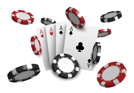 3D casino poker cards and playing chips isolated on white background, vector illustration Çizim