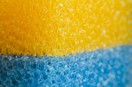 synthetic fiber: Blue and Orange Synthetic fiber texture. close-up image. Stock Photo