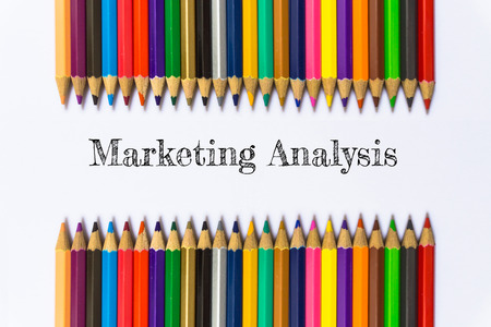 Text Marketing analysis on color pencil background  business concept Stock Photo