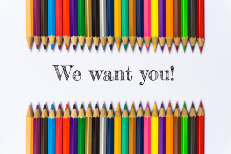appoint: Text We want you on color pencil background  business concept