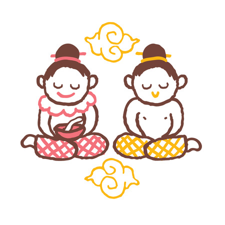 freehand drawing: asian kids freehand drawing vector