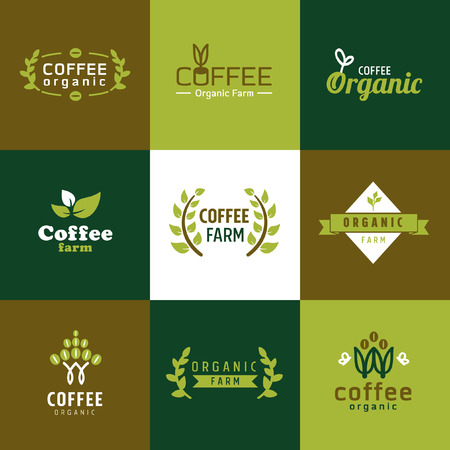 saludable logo: caf� logotipo ecol�gico de vectores Vectores