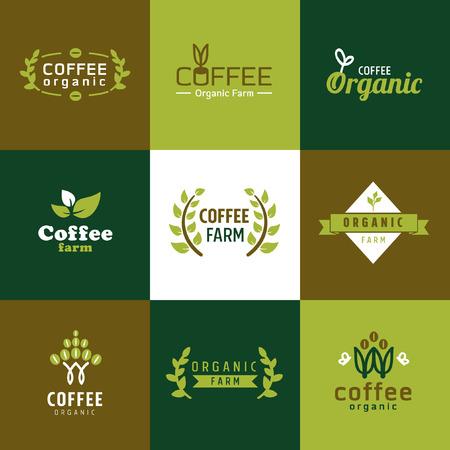 koffie biologisch logo vector Stock Illustratie