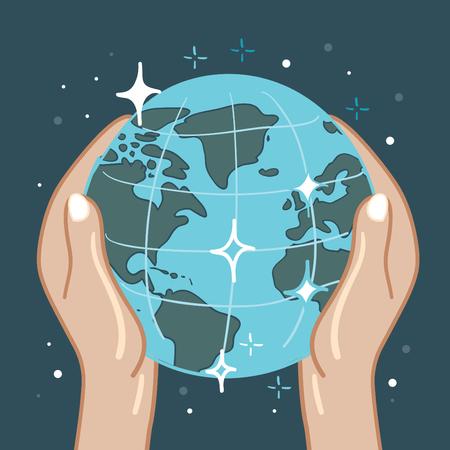 Earth in hands, sketch vector illustration Illustration