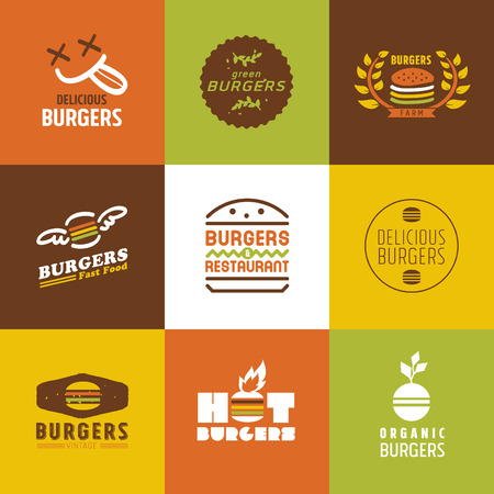 hamburguesa: restaurante de comida r�pida logotipos vectoriales y Icons set, Dise�o Gr�fico editable para su dise�o