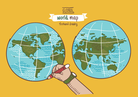 World Map Sketch Vector Freehand Drawing Royalty Free Cliparts - How to free hand a map of the us