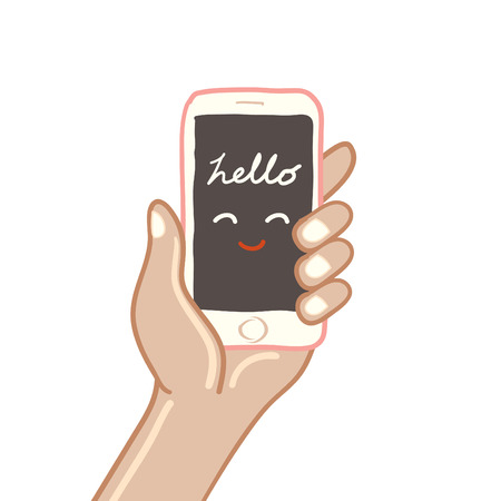 holing: Hand holing smart phone Isolated on white background, freehand drawing vector Illustration